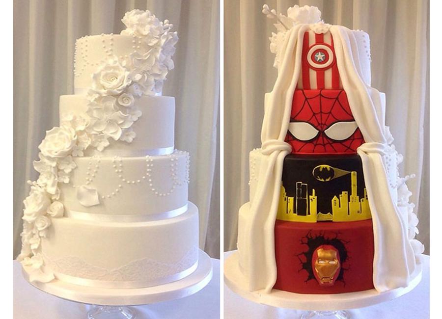 bolo de casamento de super herois