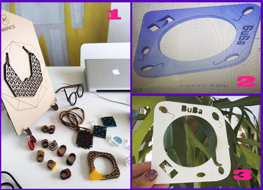 Feito com acrílico reciclado e resíduos de PLA e ABS (filamento de plástico usado para impressão 3D) .
