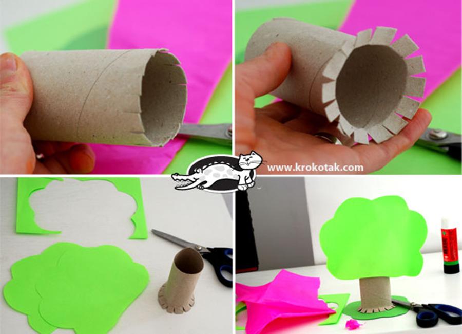 Дерево из втулок от туалетной бумаги